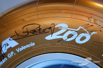 Gold Bridgestone Tyre, celebrating their 200th Grand Prix