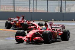 Felipe Massa, Scuderia Ferrari, F2008 leads Kimi Raikkonen, Scuderia Ferrari, F2008