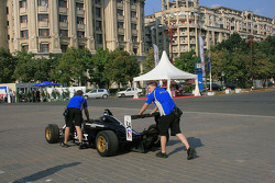 Kristjan Einar's car is pushed to the assembly area