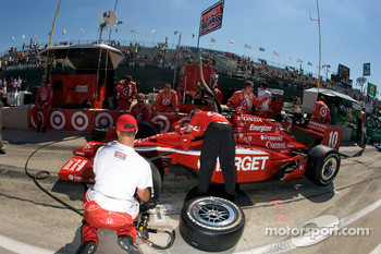 Ganassi Racing team members get ready for the race