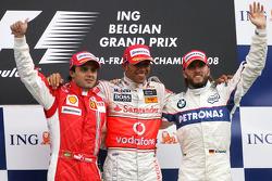 Podium: race winner Lewis Hamilton, second place Felipe Massa, third place Nick Heidfeld