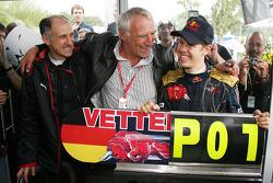 Race winner Sebastian Vettel celebrates with Franz Tost, Scuderia Toro Rosso, Team Principal, and Dietrich Mateschitz, Owner of Red Bull