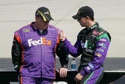 Denny Hamlin talks with his crew chief