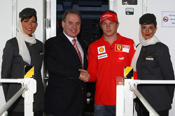 Kimi Raikkonen of Ferrari meets James Hogan, CEO of Ethiad Airways beofre flying in an Etihad Airways flight simulator over the Yas Island, the site of the Abu Dhabi Etihad Airways F1 Grand Prix 2009