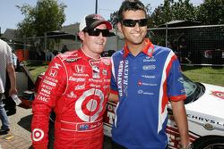 V8 Supercar driver Fabian Coulthard has a talk to Scott Dixon