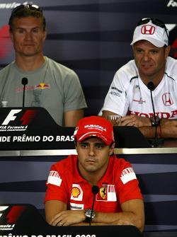 FIA press conference: Felipe Massa, Scuderia Ferrari, David Coulthard, Red Bull Racing and Rubens Barrichello, Honda Racing F1 Team