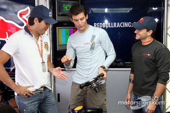 Stock Car driver Carlos Bueno, Mark Webber and Stock Car driver Daniel Serra