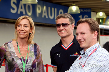 Anita Gerhardter, David Coulthard and team principal Christian Horner