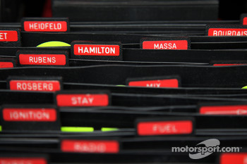 The names of Felipe Massa, Scuderia Ferrari and Lewis Hamilton, McLaren Mercedes  in the pit box for Scuderia Ferrari
