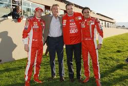 Kimi Raikkonen, Luca di Montezemolo, Stefano Domenicali and Felipe Massa