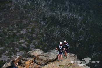 Launceston, Australia: competitors look over the edge from the summit of Cradle Mountain