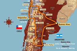 Overall geographical map: 14 stages, from 2009-01-03 to 2009-01-17, Buenos Aires to Valparaiso to Buenos Aires