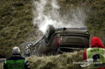 Mikko Hirvonen and Jarmo Lehtinen, Ford World Rally Team Ford Focus RS WRC crash