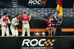 Podium: Michael Schumacher, Sebastian Vettel, Mattias Ekström and Tom Kristensen spray champagne