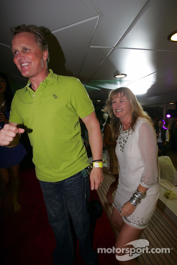 Johnny Herbert and Louise Goodman ITV-F1 Pit Lane Reporter at the Kingfisher boat party on the Indian Empress