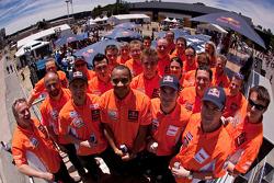 Cyril Despres, Alain Duclos, Jordi Viladoms and Marc Coma pose with KTM factory team members