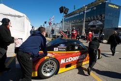 #77 Doran Racing Ford Dallara pushed back to the garage area
