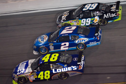 Jimmie Johnson, Kurt Busch and Carl Edwards race three-wide
