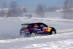 Patrik Sandell and Emil Axelsson, Skoda Fabia S2000, Red Bull Rallye Team