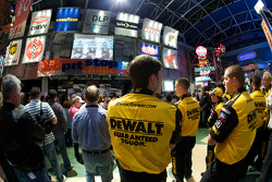 Champion's breakfast: Roush Fenway Racing Ford  crew members watch as the 2009 Daytona 500 winner Matt Kenseth, Roush Fenway Racing Ford, Jack Roush, Roush Fenway Racing Ford owner, and crew chief Drew Blickensder for Matt Kenseth are on stage