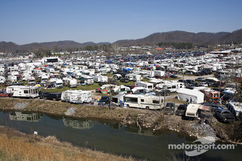 Hundreds of motorhomes at the Bristol Motor Speedway
