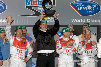 Michelin Green X Challenge podium: Prototype winners Tom Kristensen, Rinaldo Capello and Allan McNish
