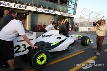 Brawn GP, BGP001, BGP 001 is scrutineered