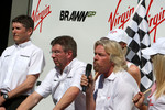 Nick Fry, BrawnGP, Chief Executive Officer, Ross Brawn Brawn GP Team Principal, Sir Richard Branson CEO of the Virgin Group makes and announcement regarding the Virgin sponsorship deal with Brawn GP
