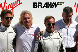 Sir Richard Branson CEO of the Virgin Group makes and announcement regarding the Virgin sponsorship deal with Brawn GP. Jenson Button, Brawn GP , Sir Richard Branson, Virgin Group CEO, Rubens Barrichello, Brawn GP and Ross Brawn Team Principal, Brawn GP