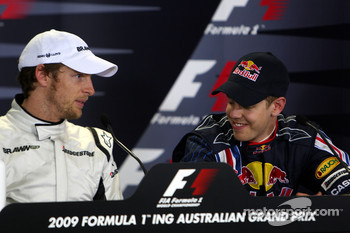Post-qualifying press conference: pole winner Jenson Button, Brawn GP, third place Sebastian Vettel, Red Bull Racing