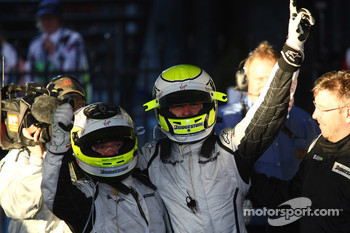 Jenson Button, Brawn GP, celebrates with second place Rubens Barrichello, Brawn GP