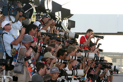 Photographers at work during the drivers group photoshoot
