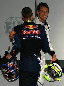 Sebastian Vettel congratulates Jenson Button
