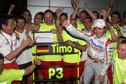 Toyota F1 celebrations: Tadashi Yamashina, Chairman and Team Principal, Jarno Trulli, Toyota Racing, Timo Glock, Toyota F1 Team
