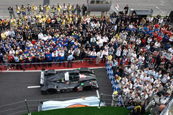 Parc fermé ambiance during the podium ceremony