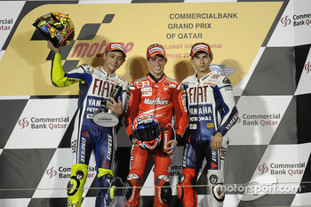 Podium: race winner Casey Stoner, Ducati Marlboro Team, second place Valentino Rossi, Fiat Yamaha Team, third place Jorge Lorenzo, Fiat Yamaha Team
