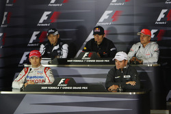 FIA press conference: Jarno Trulli, Toyota Racing, Kazuki Nakajima, Williams F1 Team, Mark Webber, Red Bull Racing, Rubens Barrichello, Brawn GP, Heikki Kovalainen, McLaren Mercedes