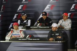 FIA press conference: Jarno Trulli, Toyota Racing, Kazuki Nakajima, Williams F1 Team, Mark Webber, Red Bull Racing, Rubens Barrichello, Brawn GP, Heikki Kovalainen, McLaren Mercedes
