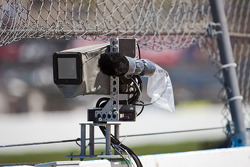 A remote camera sits on the outside of turn 2 at the Phoenix International Raceway