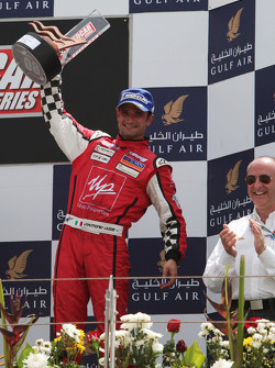 Vitantonio Liuzzi UP Team celebrates his third position on the podium