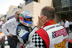 Speedcar Series Champion Gianni Morbidelli Palm Beach celebrates in parc ferme with Johnny Herbert JMB