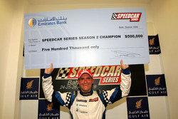 Speedcar Series Champion Gianni Morbidelli Palm Beach with his winning cheque