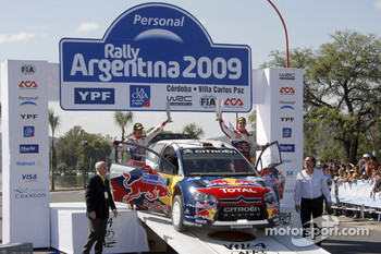 Podium: second place Daniel Sordo and Marc Marti, Citroen C4 Citroen Total World Rally Team