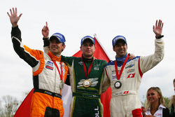 2nd place Jeroen Bleekemolen, driver of A1 Team Netherlands with Adam Carroll, driver of A1 Team Ireland and Neel Jani, driver of A1 Team Switzerland
