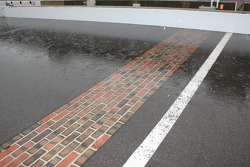 Rain on the yard of bricks