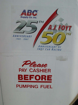 Humor on the gas tanks of A.J. Foyt Enterprises