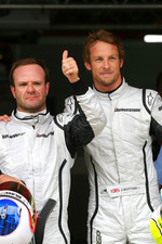 Rubens Barrichello, Brawn GP with pole winner Jenson Button, Brawn GP