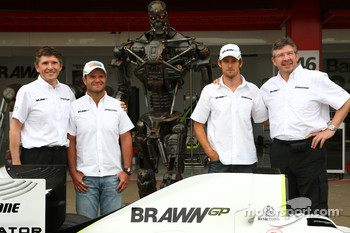 Nick Fry, BrawnGP, Chief Executive Officer, Rubens Barrichello, Brawn GP, The Terminator, Jenson Button, Brawn GP and Ross Brawn Brawn Grand Prix Team Principal