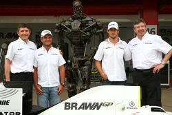 Nick Fry, BrawnGP, Chief Executive Officer, Rubens Barrichello, Brawn GP, The Terminator, Jenson Button, Brawn GP and Ross Brawn Brawn Grand Prix Team Principal