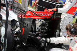 The rear wing of Lewis Hamilton, McLaren Mercedes
